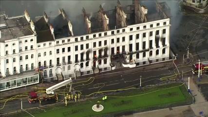 Fire engulfs hotel in English seaside resort town