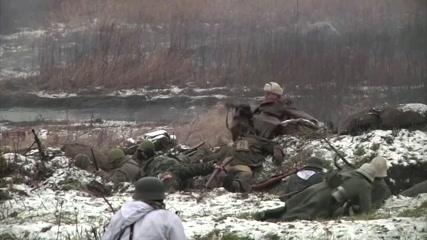 Enthusiasts reenact a battle of breakthrough of Leningrad Siege