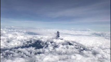 Breathtaking view of Mexico's Popocatepetl volcano seen from plane